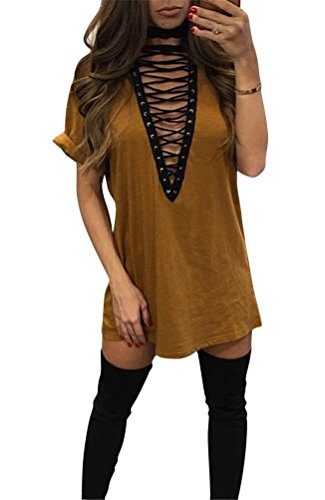 Brinny Sexy Mode Femmes Casual Blouse Tops T-Shirt Mini robe Col V manches courtes pour Vie Quotidienne 11 Couleur 5 Taille Brun & Jaune