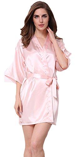 JOYTTON Damen kurze Satin Kimono Robe mit besticktem Matron of Honor Pink