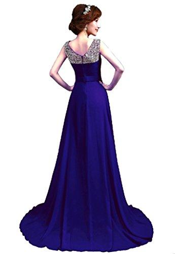 Vantexi Damen Chiffon Lang Pailletten Ballkleid Abendkleid Blau