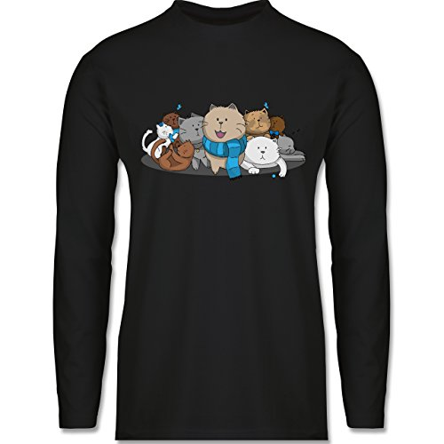 Katzen - süße Katzen - Longsleeve / langärmeliges T-Shirt für Herren Schwarz