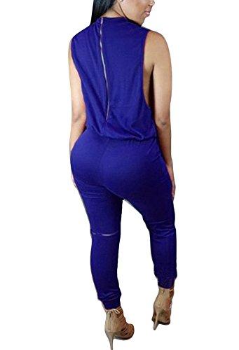 Brinny Femme sans manches Combinaison Pantalon genou trou Bodycon Clubwear Playsuit Salopettes loose Pants Drawstring Zippé Taille: S-XL Bleu