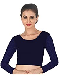 0f50721820c Areum Womens Girls Cotton Lycra Strechable Round Neck Net Full Sleeves  Readymade Saree Blouse Crop Top