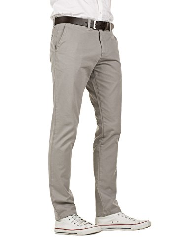 Yazubi Herren Chino Hose, Slim Fit, Modell Kyle, Chinohose mit Gürtel Grau (Grey Gull 173802)