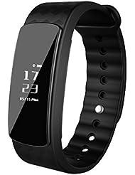 Sports Fitness Tracker LESHP, Pulsera deportiva con múltiples funciones Pulsera inteligente Bluetooth Pedómetro Seguimiento de actividad, Monitor de sueño, Contador de calorías, Disparo remoto para Android & iOS Phone