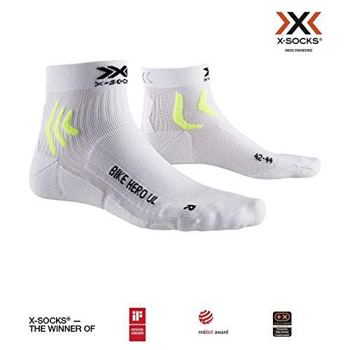 X-Socks Bike Hero Ultra Light Socks, Unisex Adulto, Arctic White/Phyton Yellow, 35-38