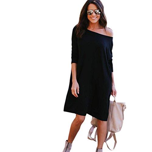 Damen Kleid,DOLDOA Einfarbig Rundhals Freizeit3/4 arm Knielang Kleid Abend Party Minikleid (EU:46, Schwarz,Knielang Abend Party Kleid) (Flirt-print-rock)
