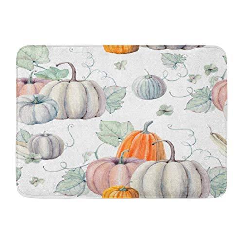Bad Teppiche Outdoor/Indoor Fußmatte Muster Aquarell Kürbisse Es ist Thanksgiving Halloween Rezept Herbst Ernte Badezimmer Dekor Teppich Badematte ()