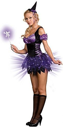 Damen Sexy Leuchtend Schwarz/Lila Hexe Halloween Kostüm Kleid Outfit mit Zauberstab UK 6-18 - Schwarz, 12-14