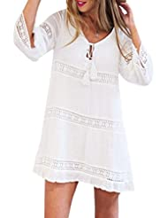Tefamore Femmes Trois Été Tissu à manches longues Boho Beach Short Mini Dress