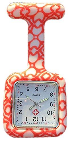 Boolavard® tm infermieri moda colorato fantasia silicone gomma fob orologi - cuori quadrato arancioni
