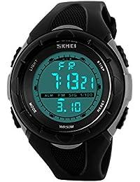 Ilove EU Mujer Chica Reloj de pulsera 50m resistente al agua banda de silicona digital LED Alarma Fecha reloj reloj deportivo cronómetro gris negro