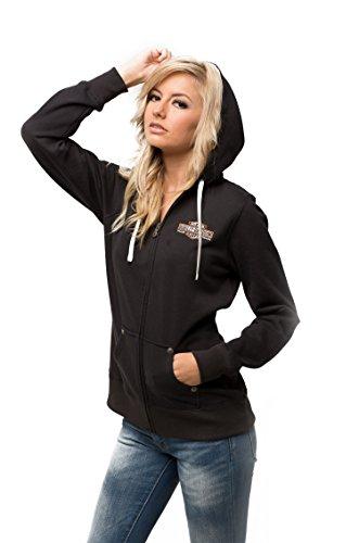 Harley-Davidson Womens Fleece Fullzip Jacket HU02-HA5M Damen Outerwear, schwarz, L (T-shirt Großes Harley-davidson)