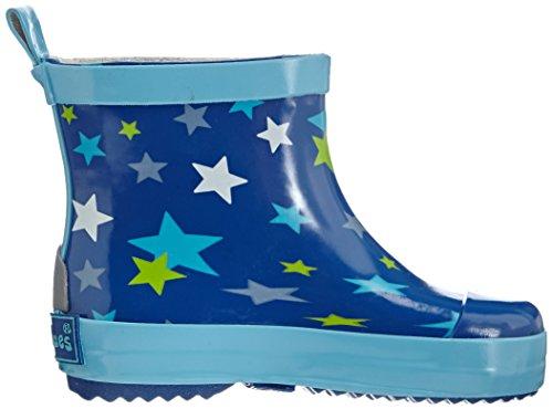 Playshoes Kurze Gummistiefel Sterne Aus Naturkautschuk, Bottes de Pluie Mixte Enfant Bleu (blau 7)