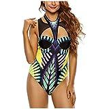 Kaamastra Women's Mesh Cutout High Neck Egyptian Print One Piece Swimsuit(CV_LC410085,Multi-Coloured,Freesize)