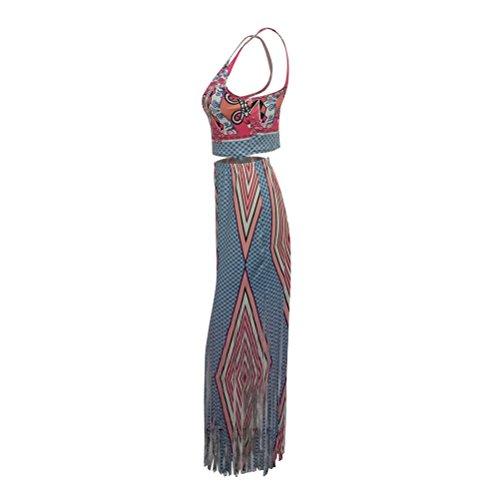 Frauen reizvolle Boho Printing zwei Stücke Kleid Halter Top + Paket-Hüfte-Quaste lange Kleid Rot