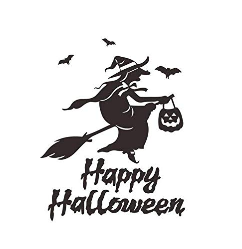 Wandaufkleber Happy Halloween Hexe Abnehmbare Wandsticker Art Deco Wallpaper 56X32Cm