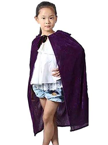 (Kinder Halloween Umhang Cape mit Kapuze Karneval Fasching Lila)