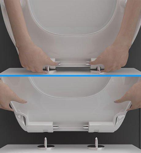 Keramik Hänge WC Spülrandlos Toilette inkl. Duroplast WC-Sitz abnehmbar mit Softclose, passend zu GEBERIT Wand WC ohne Spülrand - 5