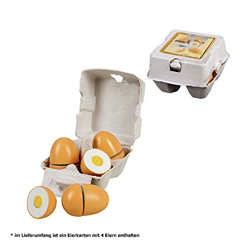 Preisvergleich Produktbild Holz-Eier in Pappschachtel, 6 Stück, Eier können geteilt werden, 16 x 10 cm: Eierbox Kaufladen Zubehör Lebensmittel Kaufmannladen Spielküche