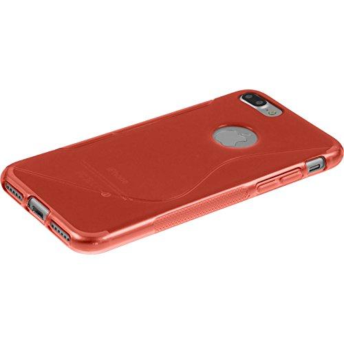PhoneNatic Case für Apple iPhone 7 Plus Hülle Silikon schwarz S-Style Cover iPhone 7 Plus Tasche + 2 Schutzfolien Rot
