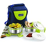 Magnus Lunch Box With Detachable Clip Lock, Leak Proof Containers & Bag, Stainless Steel, 2 Pcs Set
