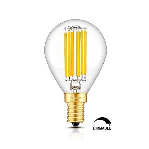 TAMAYKIM 6W Dimmable Edison Style Antique LED Filament Globe Light Bulb, 2700K Warm White 600LM, E14 Candelabra Base Lamp, G45 Globular Shape, 60W Incandescent Replacement