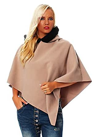 10305 Fashion4Young Damen Stylisher Poncho Pullover Pulli mit Kapuze Fell 3 Farben Gr. 34/36/38 (34/36/38, Beige)