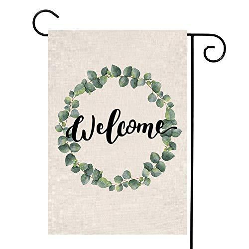 YOENYY Sommerkranz Eukalyptus-Kranz kleine Gartenflagge Einweihungsgeschenk Hochzeitsgeschenk Jute, vertikal, doppelseitig, 31,8 x 45,7 cm (Winter-kranz Sackleinen)