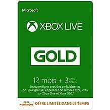 Abonnement Xbox Live Gold 12 mois + 3 mois gratis [Code Digital - Xbox Live]