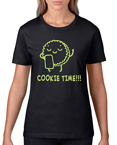 Comedy Shirts - Cookie time! Keks - Damen T-Shirt - Schwarz / Grün Gr. - Cookies Wanderer