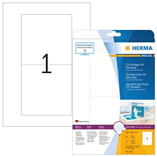 Herma 5033 CD DVD Einleger für Slim Case Hüllen (121 x 242 mm) weiß, 25 Stück, 25 Blatt A4 Karton, bedruckbar, nicht klebend, perforiert