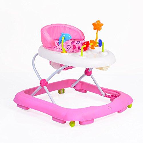 Lauflernwagen, Laufhilfe Eko höhenverstellbar, gepolsteter Sitz und Spielcenter (Rosa)