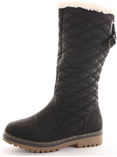 Womens Ladies Winter Boots Fur Lined Thick Sole Black Snow Boots Shoes...