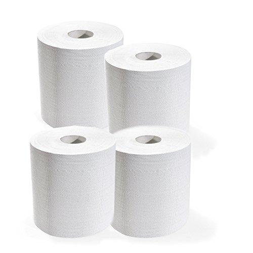 Kit 4 bobine di carta rotoloni assorbente industriale 3200 strappi 2 veli asciugamani pura cellulosa asciugatutto