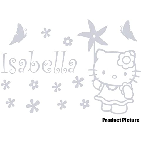 Hello Kitty, flores, globo con nombre elegido 60 cm x 40 cm color plata metalizado personaliseitonline nombre, nombre, infantil, niños de la sala de pegatinas, vinilo del coche, las ventanas y pared, ventanas de pared arte, etiquetas, adorno adhesivo de vinilo