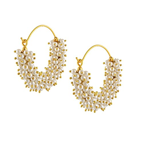 Royal Bling Gold Plated Pearl Polki Hoop Earrings For Women