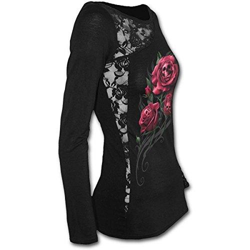 Spiral Death Rose Spitze One Shoulder Top schwarz Damen Gothic Emo Punk rot  Blumen Schwarz