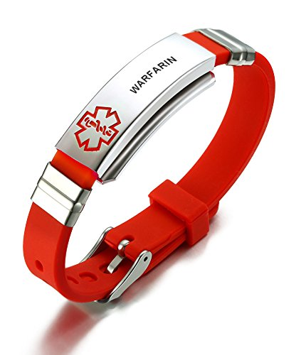d2a930f91732 Mealguet Jewelry Stainless Steel& Red Silicone Sports WARFARIN Medical  Alert ID Wristband Bracelets for Men Women