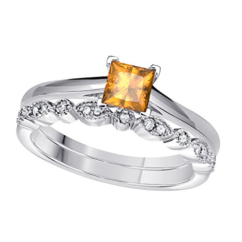 RS JEWELS Damen - Sterling-Silber 925 (Gelber Princess-cut Diamant-ring)
