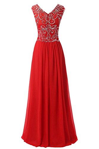 Ivydressing Damen Elegant Rundkragen Abendkleider Chiffon Partykleid  Promkleid Ballkleid Blau