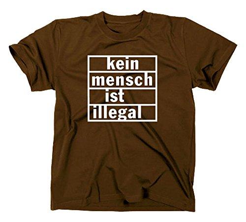 Kein Mensch ist illegal T-Shirt, refugees welcome Braun