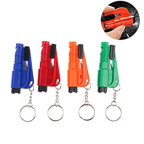 SUNSHINETEK Mini Sicherheitshammer 2 in 1 Auto Fluchtwerkzeug schlüsselanhänger Auto lebensrettende Hammer Fenster schlüsselanhänger Sicherheitsgurt schneiden (4 Paket) -