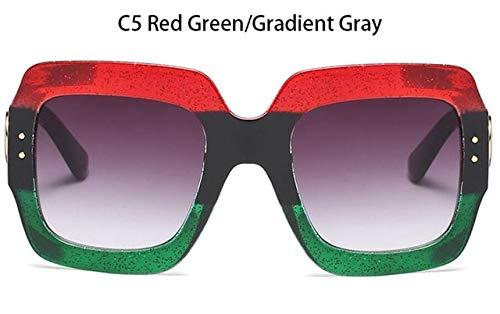 NNGETUI Fashion Square SonnenbrilleÜbergroßeSonnenbrilleLuxusmarke Designer Damen Rot GrünSonnenbrilleWeiblich Trendy Sommerbrille