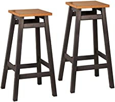 Lot de 2 tabourets pin massif en Gris Anthracite/ Chêne