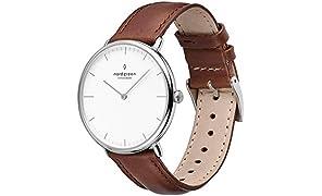 Nordgreen Reloj clásico escandinavo nativo movimiento de cuarzo analógico 10030 para unisex-adulto 40mm Marrón