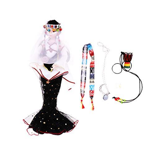 (P Prettyia Süße Tarot Serie 14 Gelenke Puppe mit Prinzessin Kostüm, Make-up Gesicht und Zubehör, Kinder Spielzeug Geburtstagsgeschenk - Priesterin)