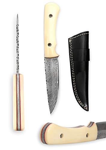 couteau de chasse damas avec étui en cuir