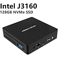 Desktop Mini PC Intel Celeron J3160 Quad-Core-Prozessor (bis zu 2,24 GHz), 4 G DDR3 / NVME 128 GB SSD Windows 10 Pro 4K HDMI & VGA Display mit leisem Kühlungssystem USB 3.0 / BT 4.2