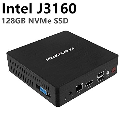 Mini PC Intel Celeron J3160 Quad-Core-Prozessor (bis zu 2,24 GHz), 4 G DDR3 / NVMe 128GB SSD Windows 10 Pro 4K HDMI & VGA Display/Dual Band WALN/USB 3.0 / BT 4.2/Auto Power On