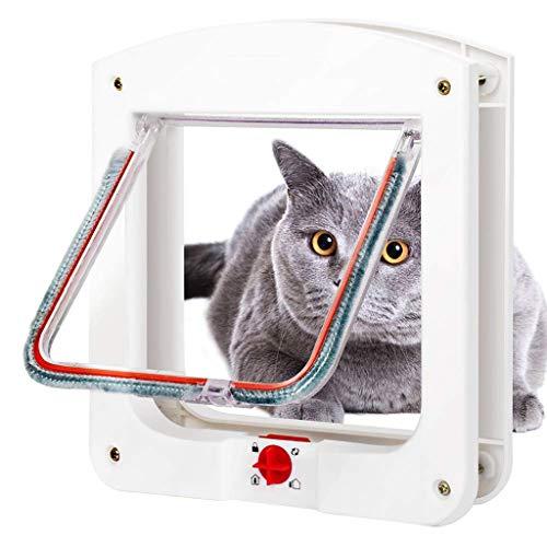 Mysida Cat flap door Abschließbare 4-Wege-Katzentür mit Innenfutter, Tunnel inklusive, Haustiertor for Katzen und kleine Hunde -